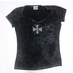 CAMISETA WEST COAST CHOPPERS MUJER CROSS PATCH