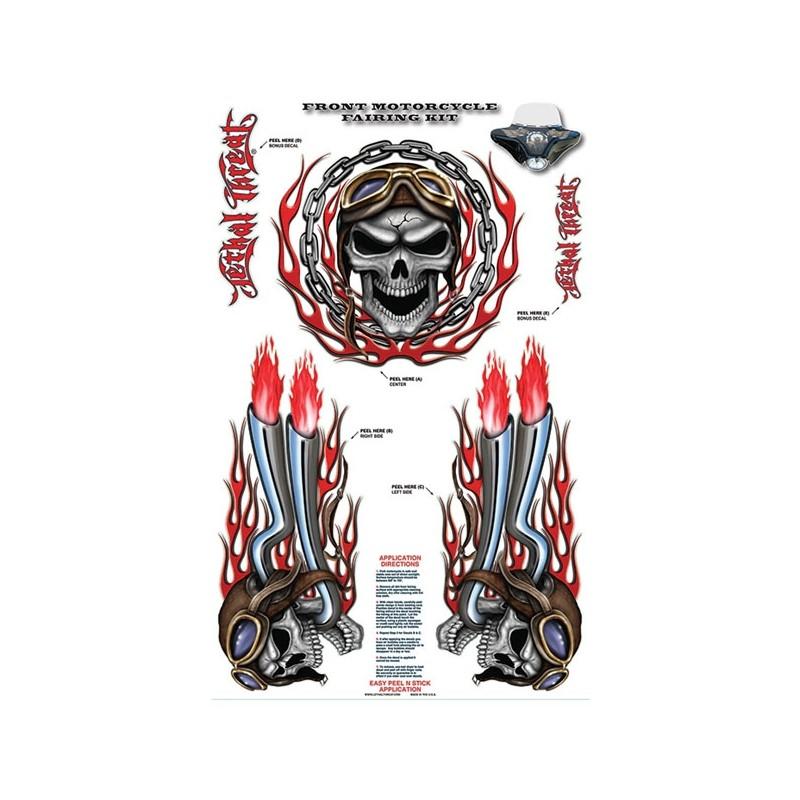 Window sticker skull exhaust red 50cm