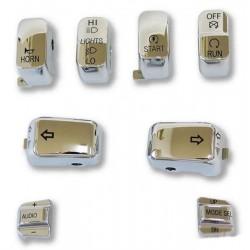 KIT TAPA BOTONES 8 PCS. CROMADO HARLEY DAVIDSON 96-16