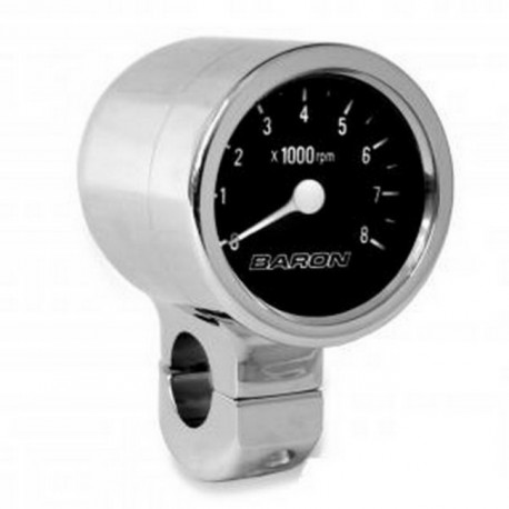 Tachometer BLACK CHROME HANDLE 1 1/4 ""