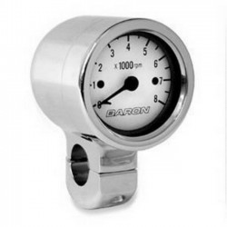 Tachometer WHITE CHROME HANDLE 1 1/4 ""