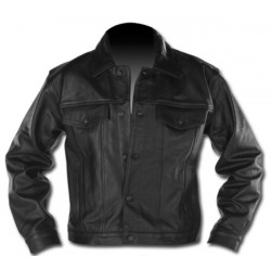 LEATHER JACKET MAN COWBOY STYLE CUSTOM CHROME