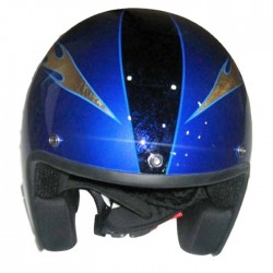 HELMET JET CUSTOM RETRO II COBALT airbrushed