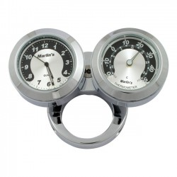 "Thermometer and Clock HANDLEBAR 1 ""and 1/4"" BLACK / SILVER"