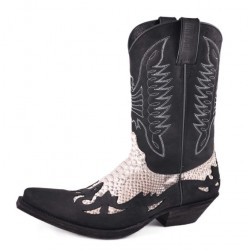 CRAZY OLD WESTERN BOOTS BLACK / NATURAL PYTHON MOD11