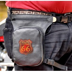 LEG BAG BLACK LEATHER PETACA ROUTE 66