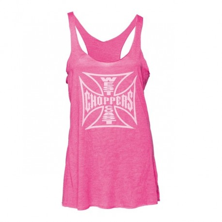 WEST COAST CHOPPERS LOGO SHIRT TANK TOP PINK WOMAN (OUTLET)