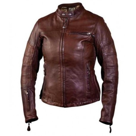 ROLAND SANDS LEATHER JACKET BROWN GIRLS MAVEL SNUFF