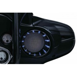 BLACK GLOSS BEZELS WITH LEDS FOR REAR SPEAKER FOR HARLEY DAVIDSON FLHTCU 96-13 HARLEY DAVIDSON FLHTCU 98-13