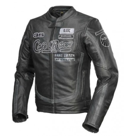 COFFEE LEATHER JACKET FLAT TRACK RACER (OUTLET)