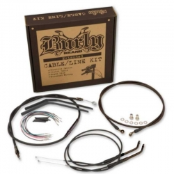 """BURLY BRAND STAINLESS 18"""" CABLE KIT FOR HARLEY DAVIDSON SOFTAIL FLST 11-13"""