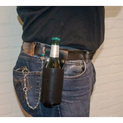 LEATHER BELT SUPPORT FOR BOTTLE AND CAN