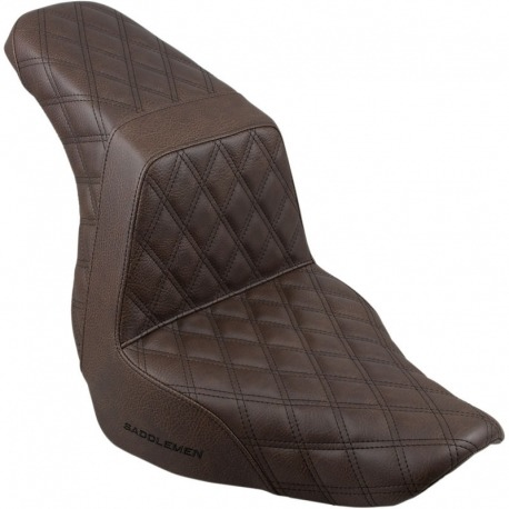 ASIENTO GEL SADDLEMEN STEP UP FULL LS BROWN HARLEY DAVIDSON FLFB FAT BOY 18-UP