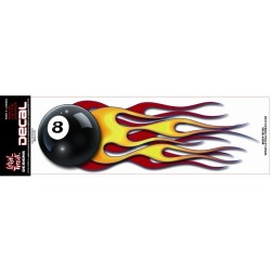 TANK STICKER FLAMING 8 BALL LEFT SIDE