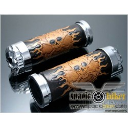 LEATHER GRIPS SKULL & FLAMES 25.4MM